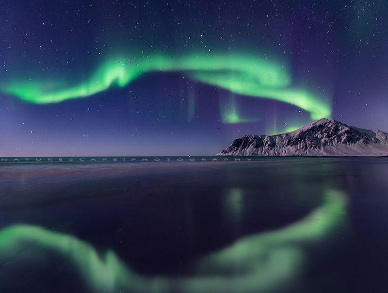 Dancing aurora in Skagsanden, Flakstadøya beach.