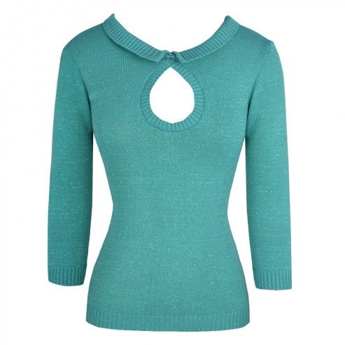 Turquoise Button Knitwear Sweater