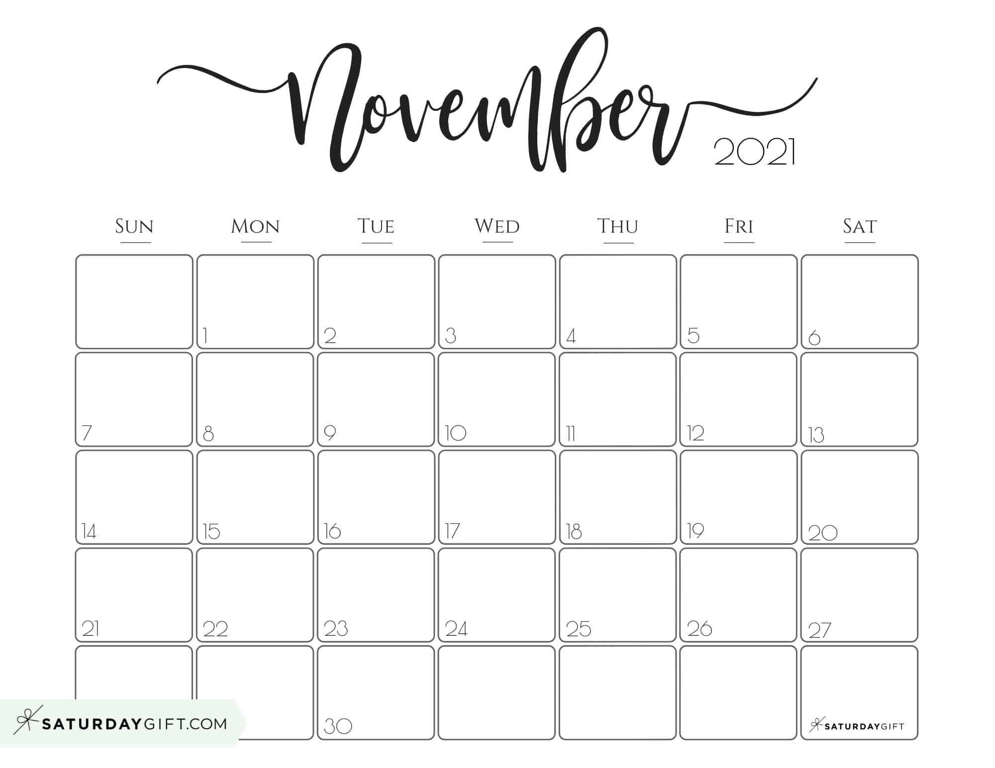 Printable November Calendar 2021 Elegant 2021 Calendar by SaturdayGift   Pretty Printable Monthly