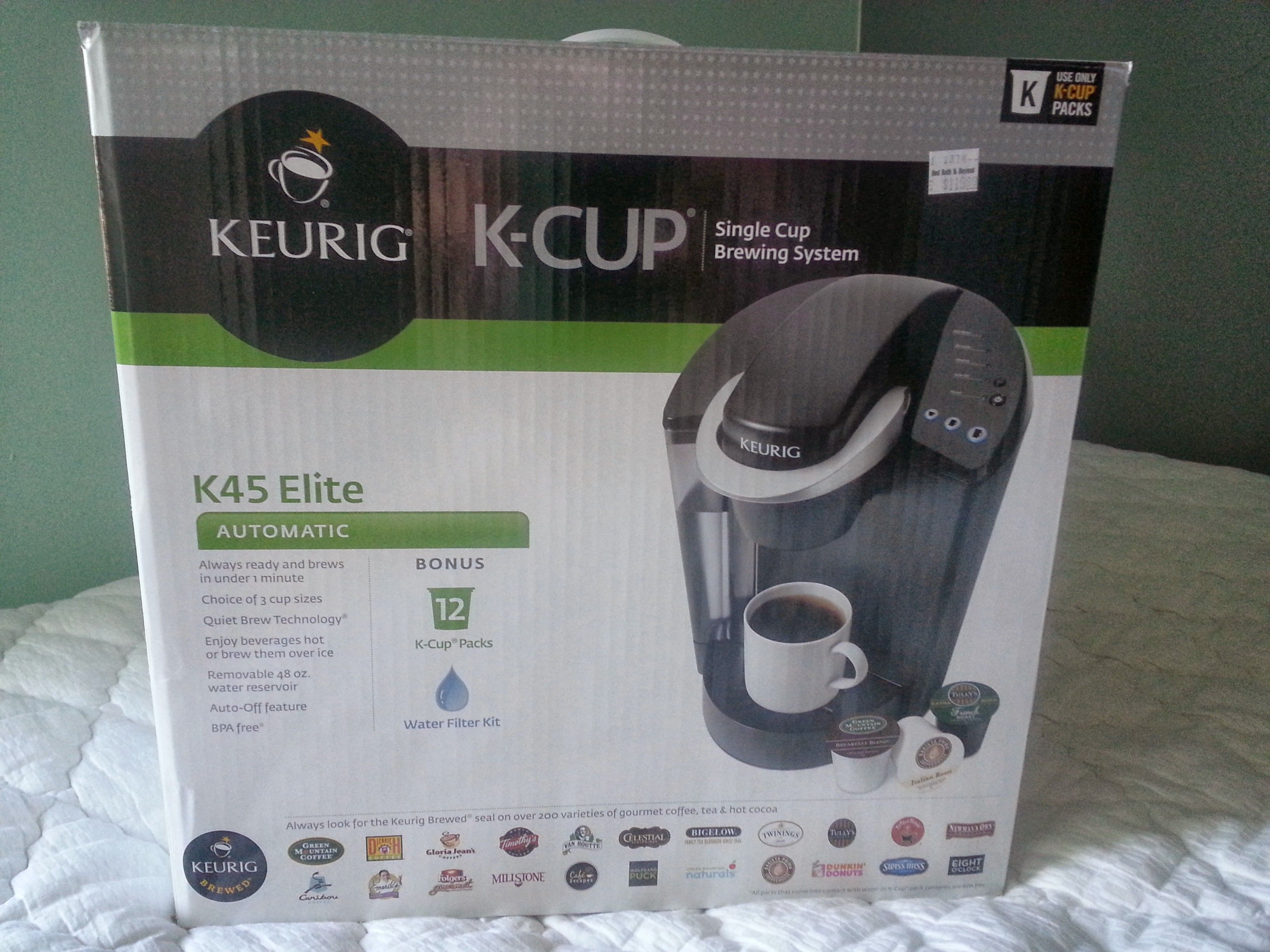 Keurig K-Cup Single Cup Brewing System in aaALLHouseSale_worldwideitems' Garage Sale in Kenosha , WI for $95. K45 Elite. Includes 12 K-Cup Packs and a water filter kit. I bought this as a wedding gift, but then they announced that they were moving away and preferred gift cards. i cant find the receipt :( its never been opened.