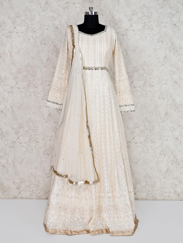 White chikankari salwar suit, chikankari work salwar suits ...