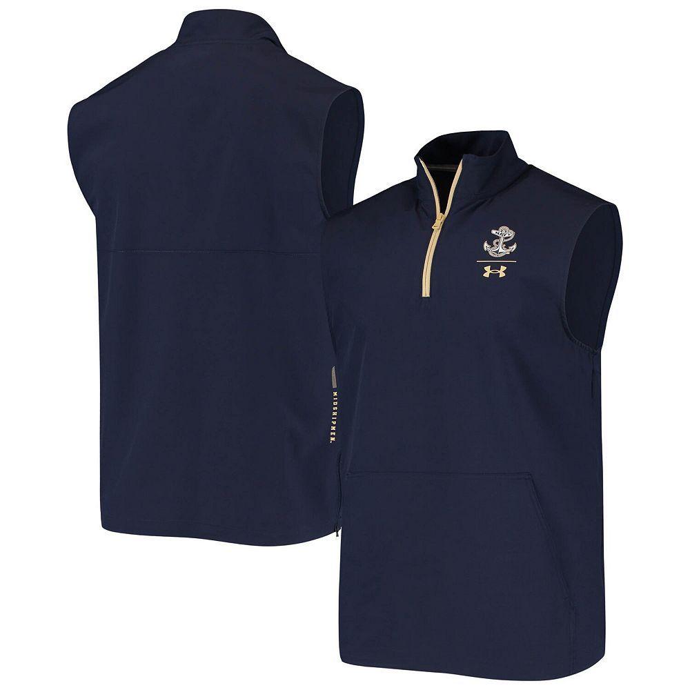 Men's Under Armour Navy Navy Midshipmen Sideline Squad Coaches Quarter-Zip Vest