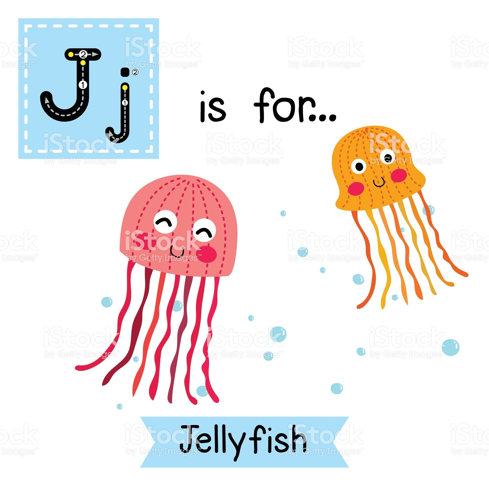 Letter J Tracing Pink And Orange Jellyfish Royalty Free