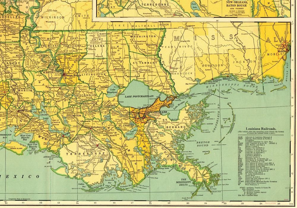 Man In The United States Map.1950 Vintage Louisiana Map Rare Size State Map Of Louisiana