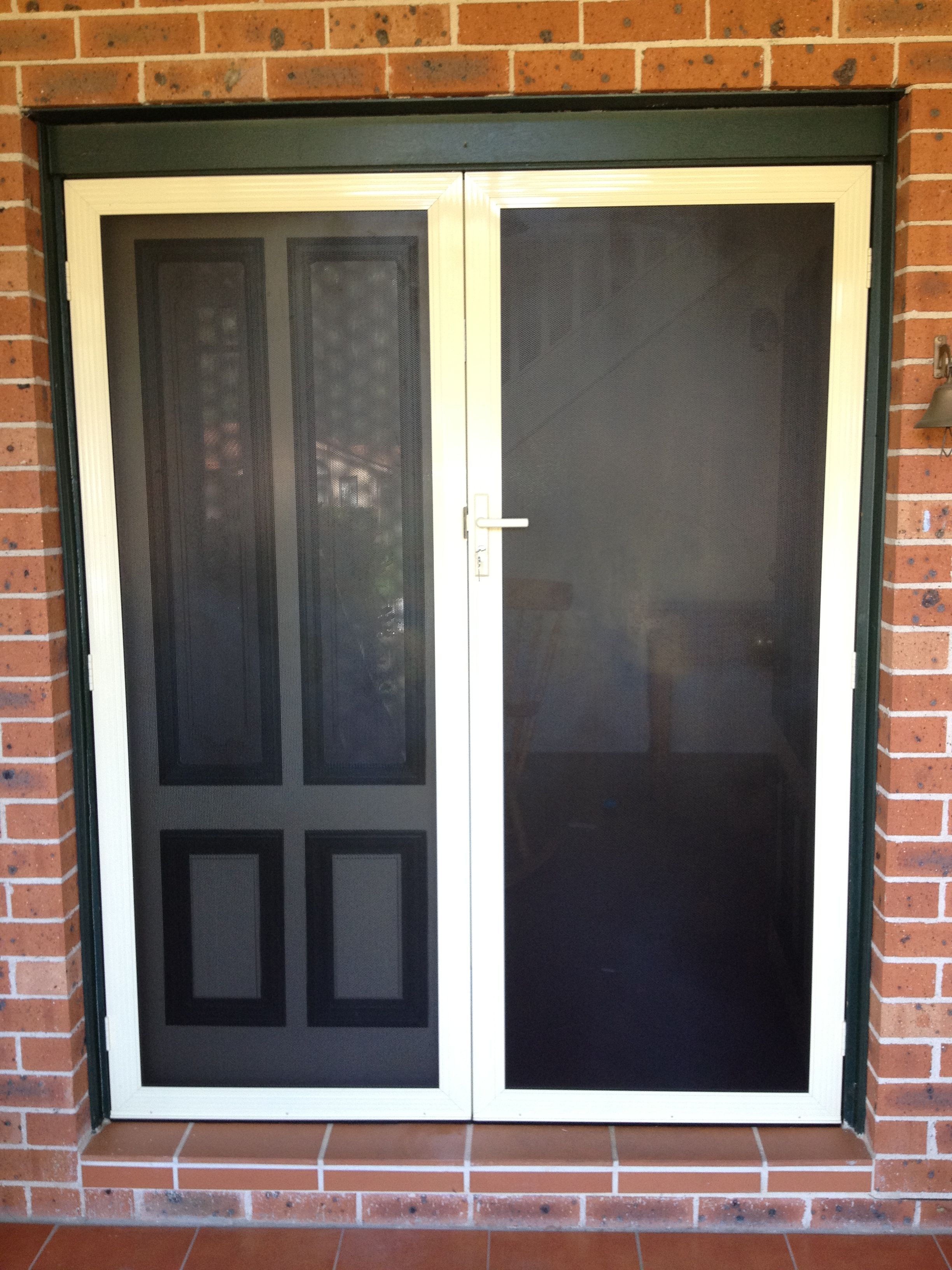 Wood effect xceed security screens 11 stylish secureview entry double hinged security door for french doors vtopaller Choice Image