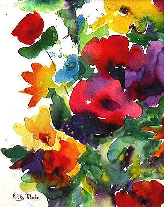 Flower Bunch, Floral ,Bright Colors, Bouquet - Art Print from my Original Watercolor