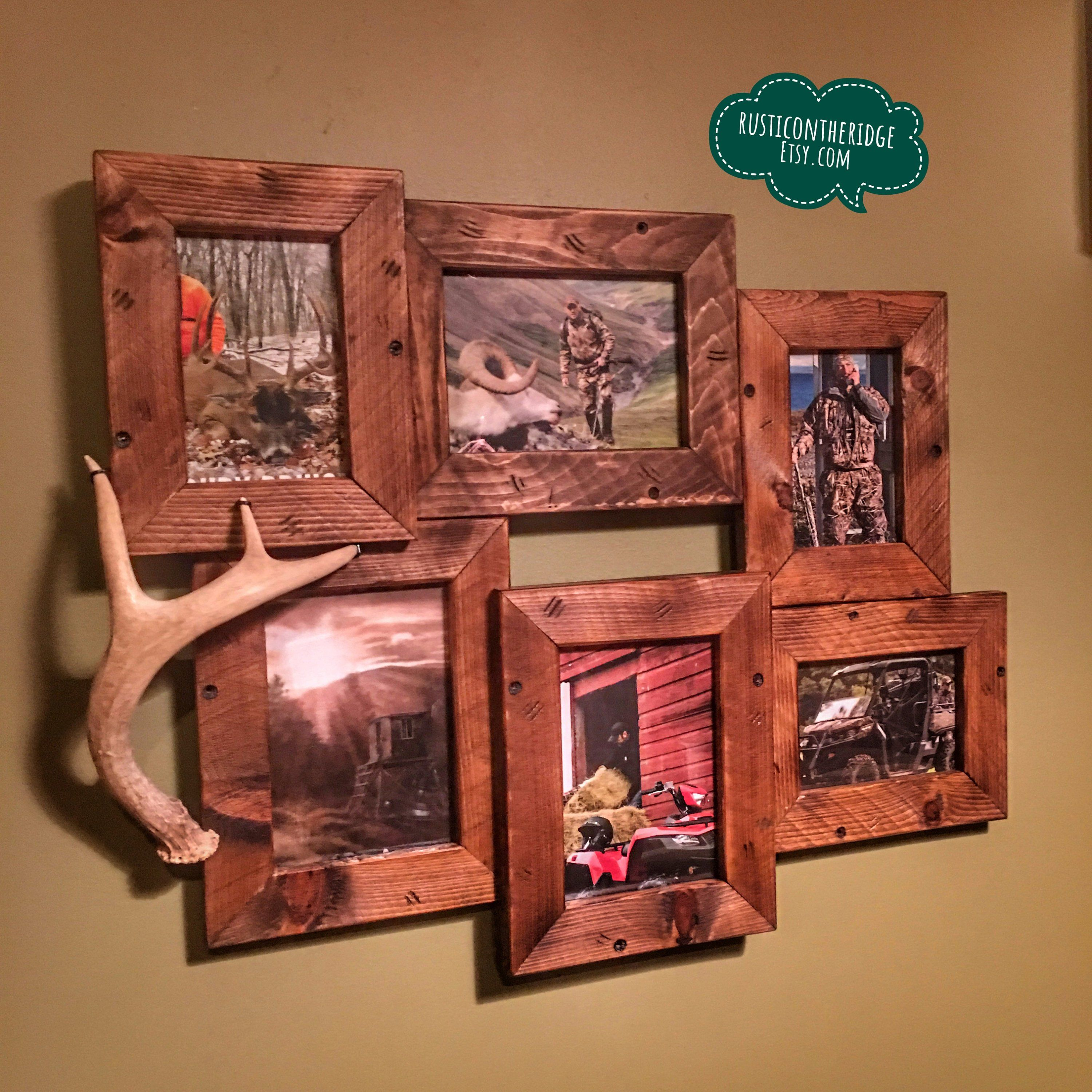 Brown Picture Frame Set Up Cycled Vintage Rustic Shabby Chic Distressed Wood Photo Gallery Collection Country Western Man Cave Home Decor