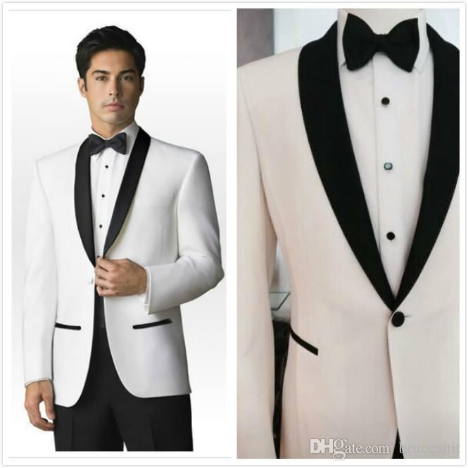 2016 Trends Black And White Shawl Lapel Groom Suits