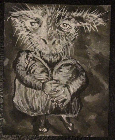 White Rabbit Ink Portrait Illustration Original Black Drawing - animal specialist sample resume