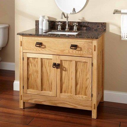 "36"" Mission Hardwood Raised Panel Vanity for Rectangular Undermount Sink"