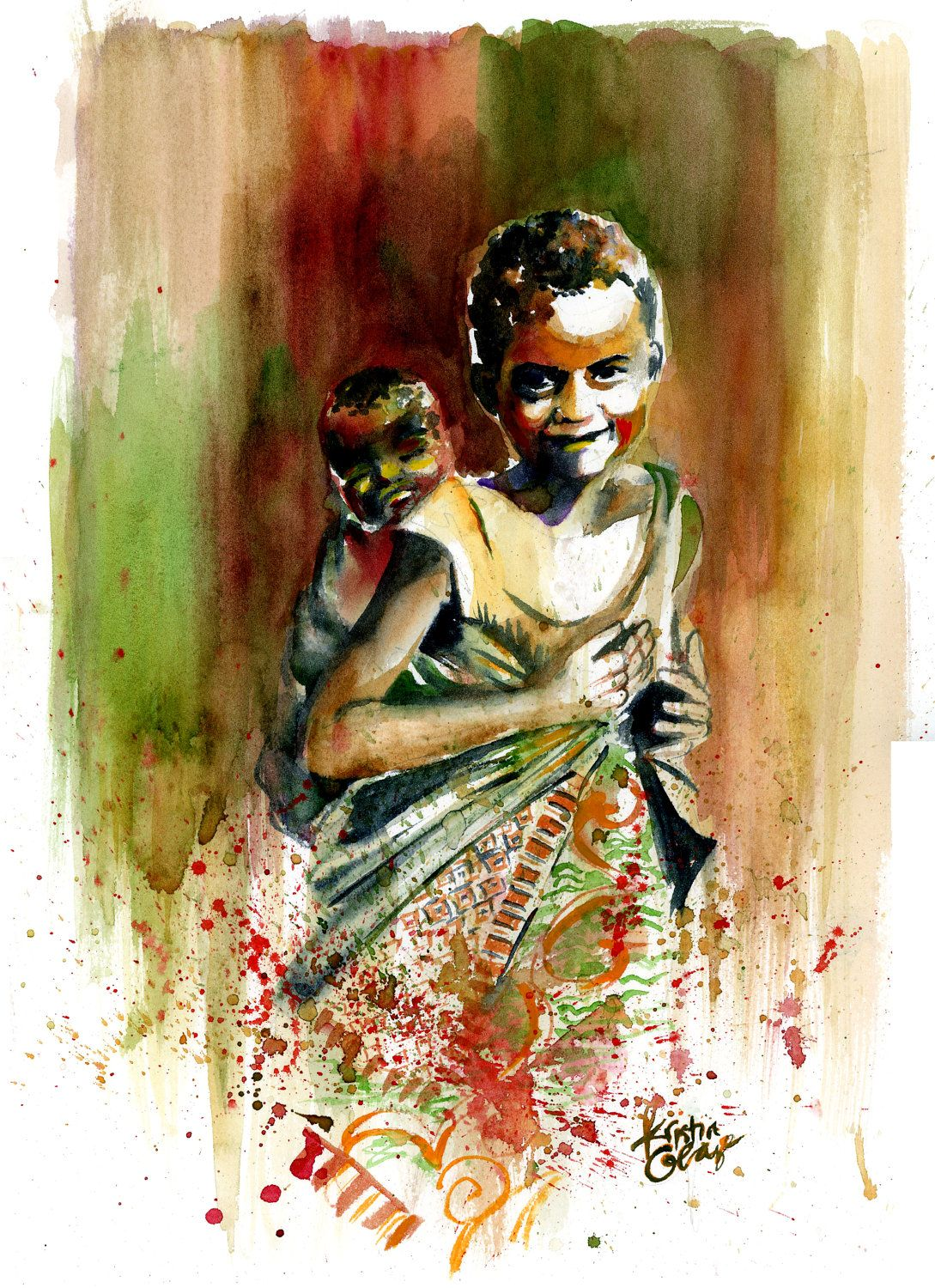Original Watercolor Painting West African Children Wall ...