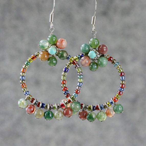 Agate Flower Hoop Earrings Handmade From Etsy