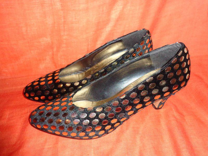 Vintage Pumps - Schuhe*schwarz*gold*Pumps*40*Silvester*christmas* - ein Designerstück von SweetSweetVintage bei DaWanda