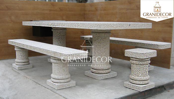 Mesas de piedra para jardin awesome conjunto de mesa comedor alargada y bancos para jardin o - Mesas de piedra para exterior ...
