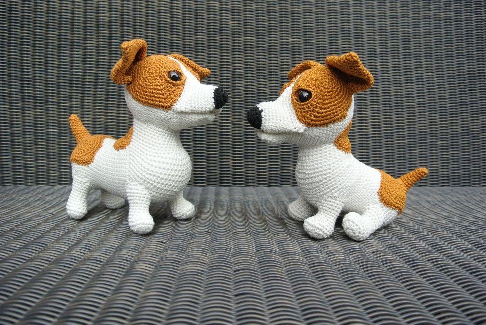 Amigurumi Jack Russell Pattern : Woeffies haken jr de jack russell haakpret amigurumi dog