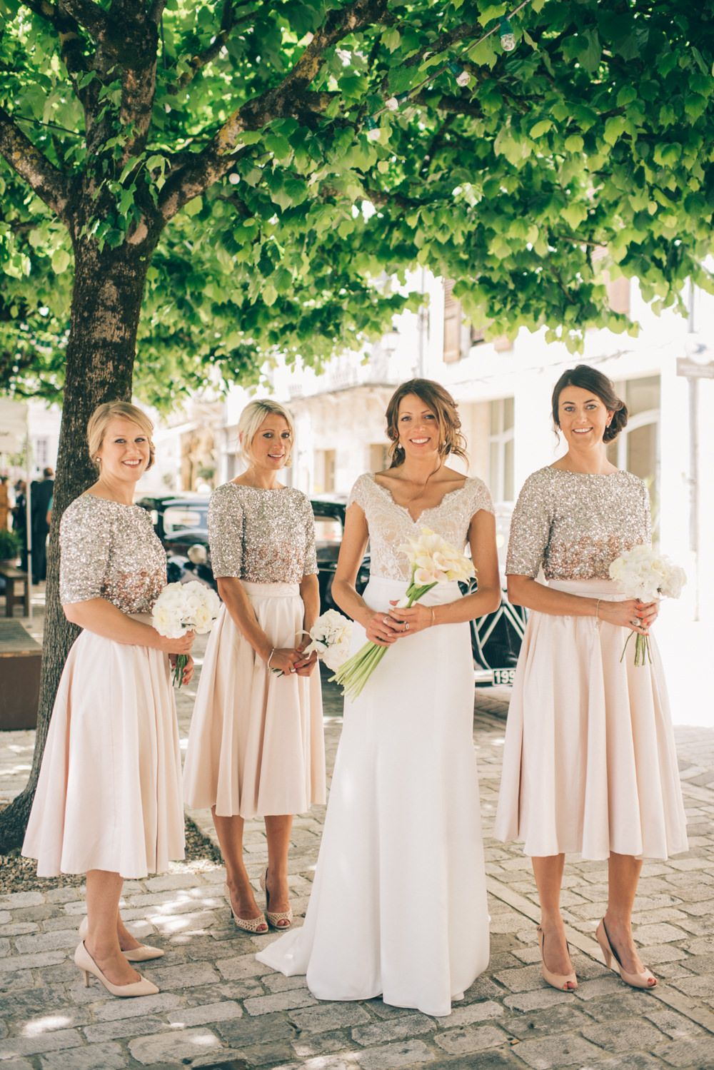 Outdoor french wedding by marry me in france with limor rosen gown bride bridesmaids in bespoke blush skirts sequin coast tops ombrellifo Gallery