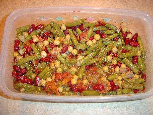 Three Bean Salad With Bacon Dressing Recipe Food Com Recipe Three Bean Salad Bacon Dressing Salad