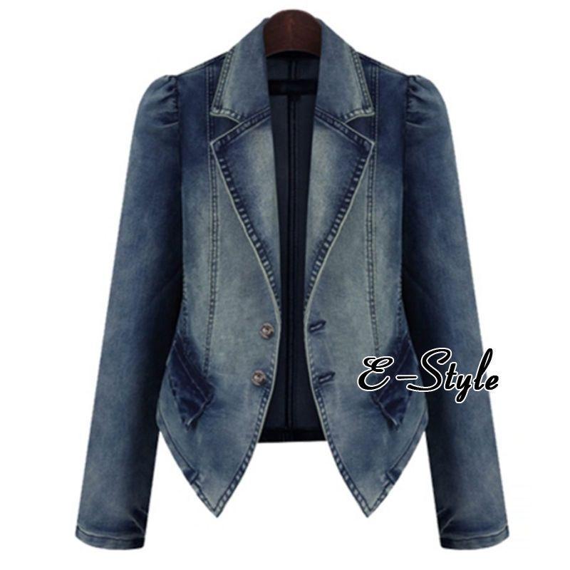 ad65eeb7d3c Plus Size Womens Denim Coat Formal Jean Jacket Slim Fit Blazer Office Lady  Tops