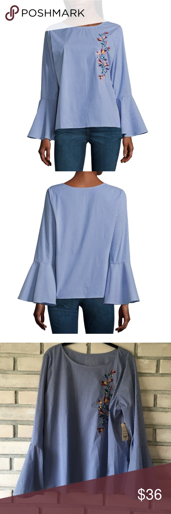 """St Johns Bay Bell Sleeved Striped Top XL 23"""" armpit to armpit, 25"""" Long, Brand new with tags.  Crisp colors and fabric, has just enough stretch to be comfy but not lose its shape or look worn through the day.  Bell sleeves. St. John's Bay Tops"""