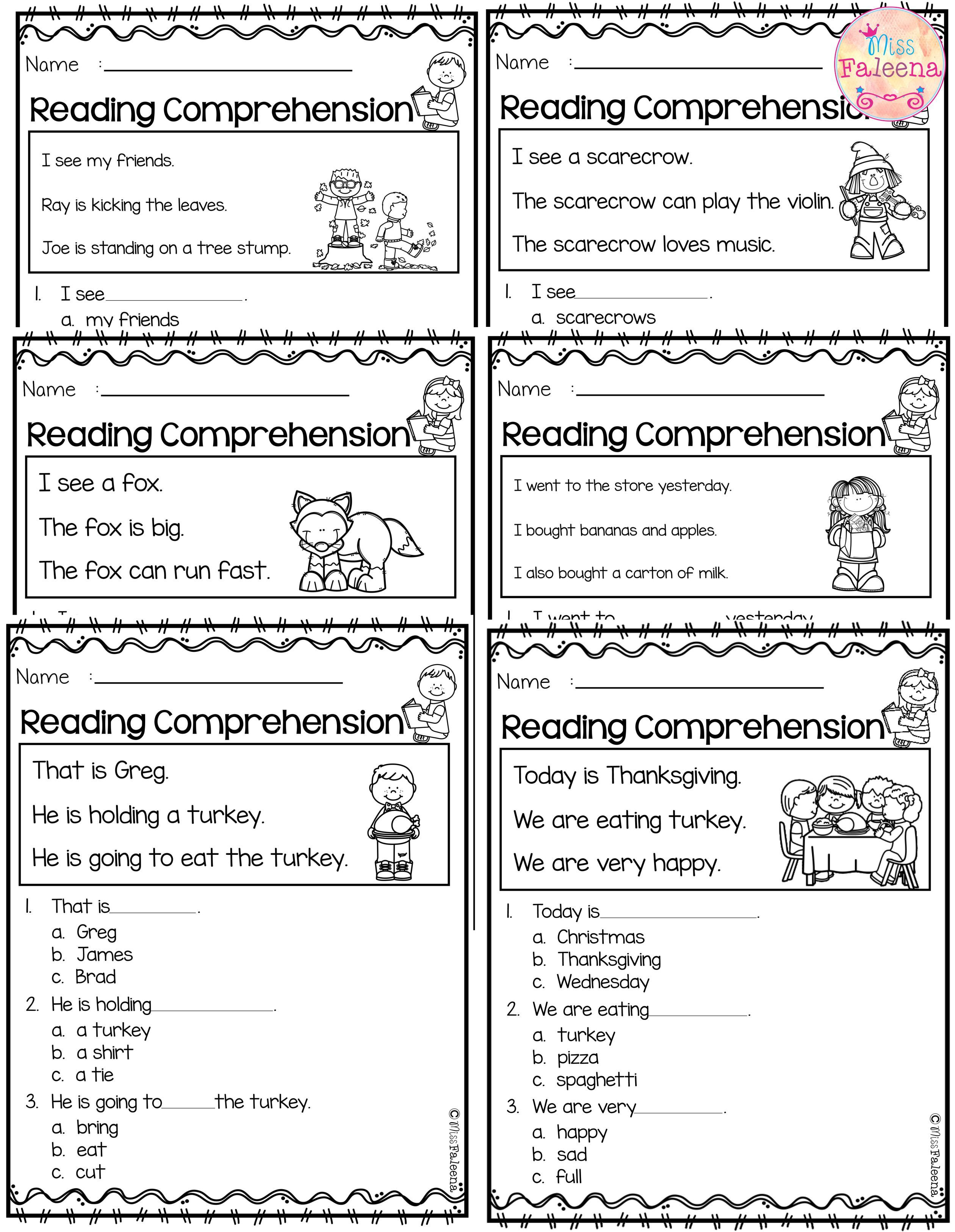 November Reading Comprehension Is Suitable For