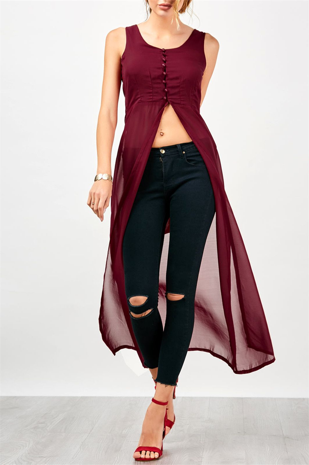 Slit U Neck Chiffon Long Top Dark Red TANK TOPS
