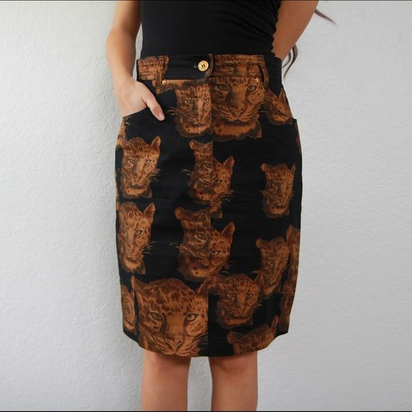 Leopard head print pencil skirt Skirt XS and jacket is M/L. Being sold separately, but if you want both let me know. Vintage. Skirts