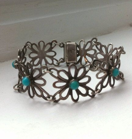 Vintage Sterling Silver and Turquoise poured by SweetSweetVintage, $48.00