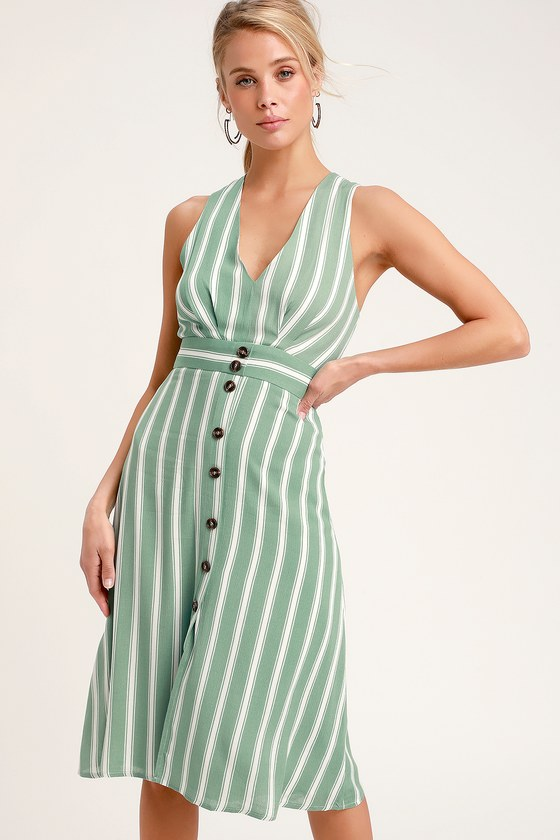 Jacqui Sage Green And White Striped Button Front Midi Dress Maxi Dress Green Striped Midi Dress Sage Green Maxi Dress