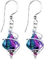 Body Candy Handcrafted 925 Silver Purple Dichroic Dangle Earrings Created with…