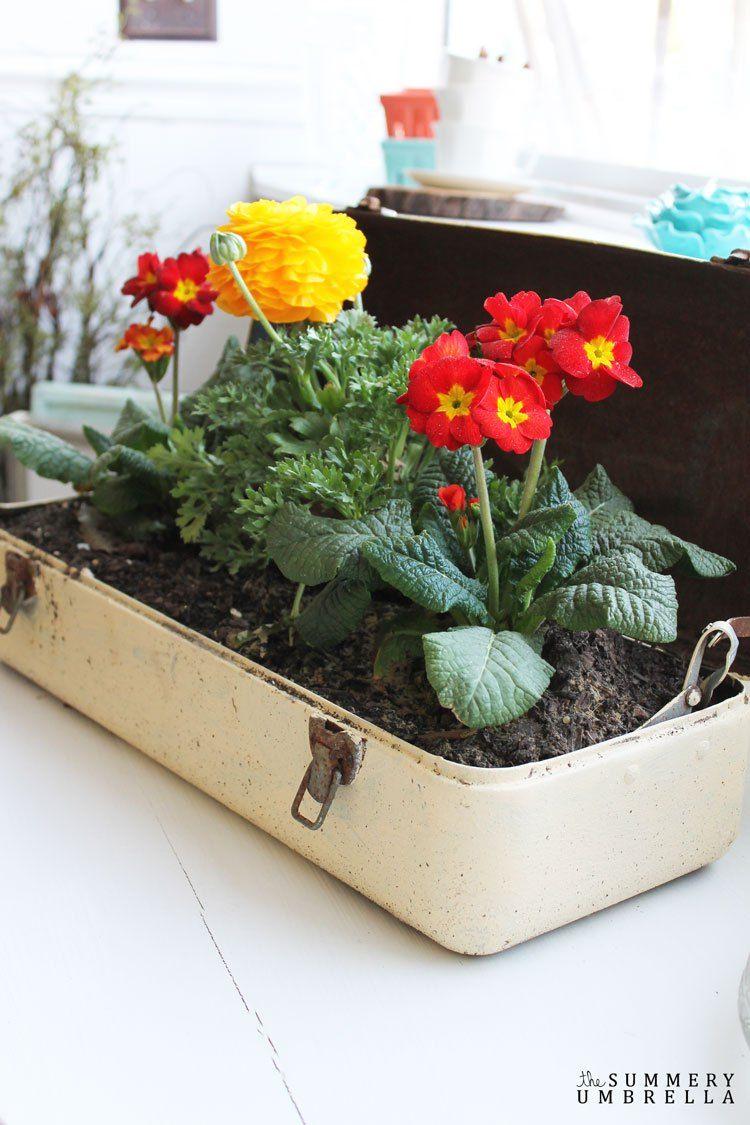 The Summery Umbrella / Repurposed Toolbox Flower Planter