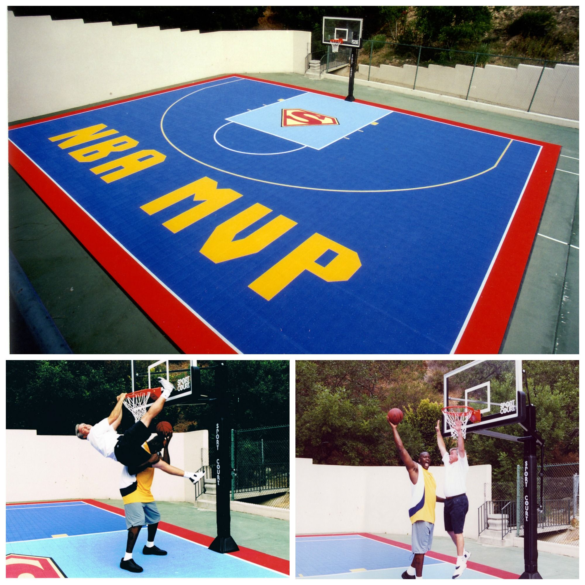 shaq loves his custom half court basketball in his backyard