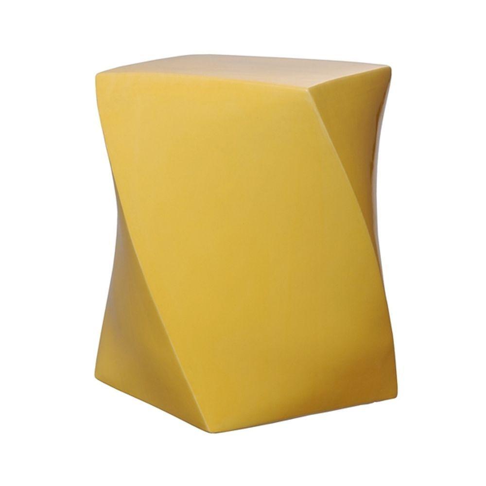 Sun Yellow Twist Ceramic Garden Stool