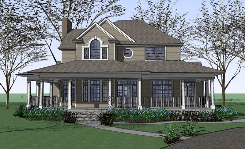 Similar in design to the liberty hill thd plan no 5770 for Hill country house plans with wrap around porch