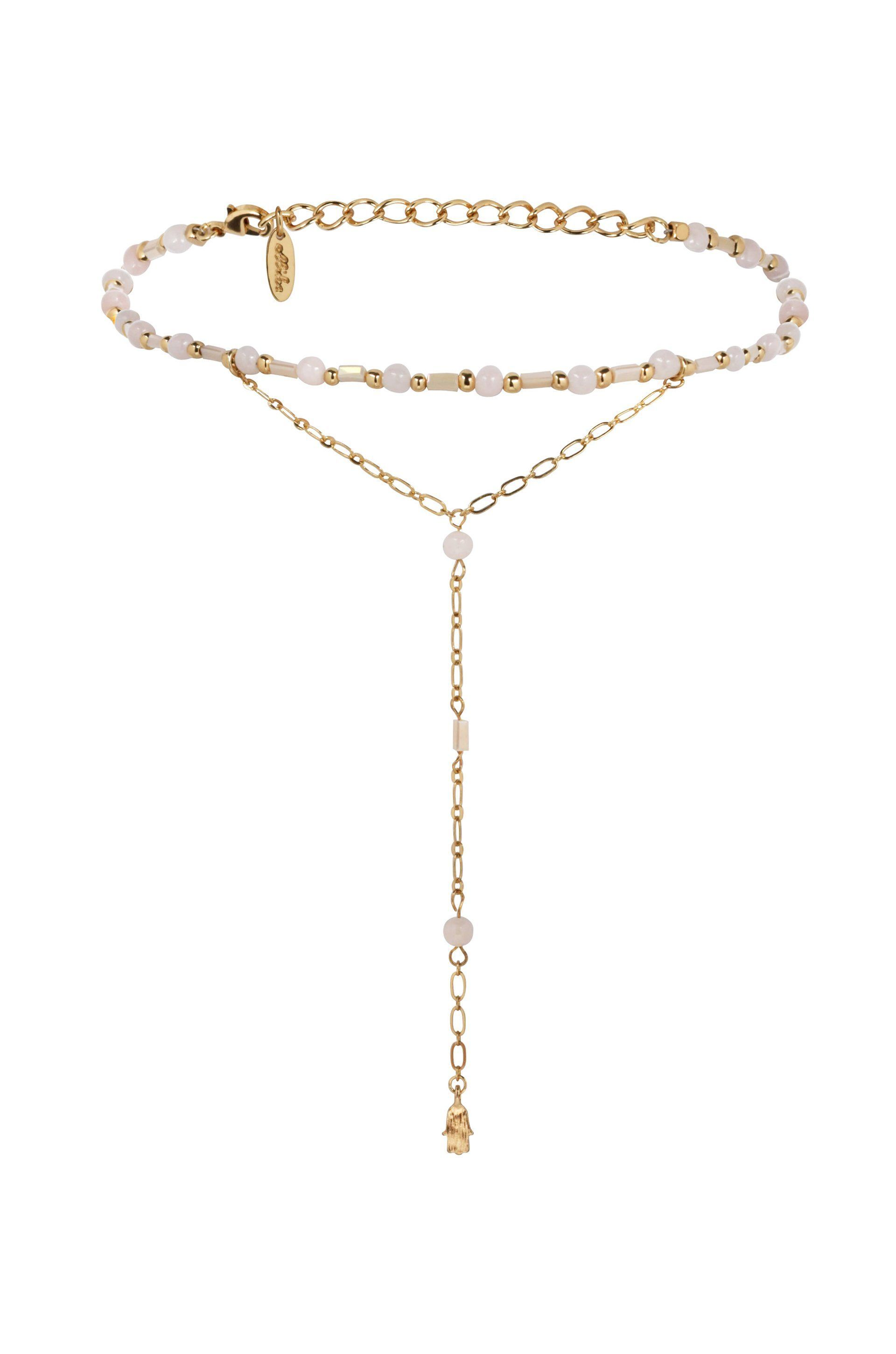 Love Me Lariat in Pink and Gold with Hamsa