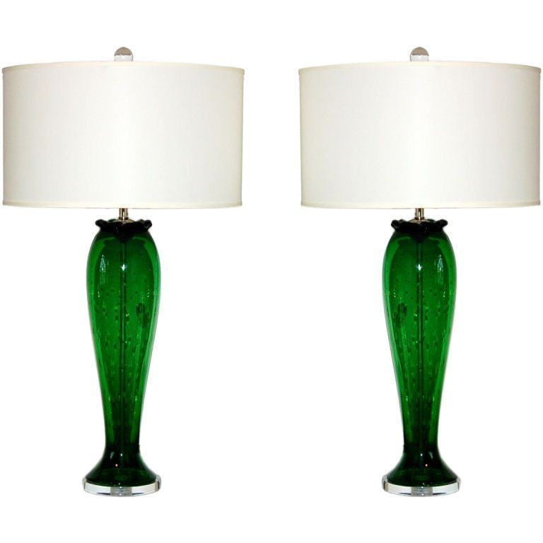 Vintage Murano Glass Table Lamps Green Swank Lighting Glass Table Lamp Vintage Table Lamp Lamp