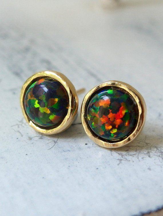 Opal Earrings Black Stud Studs Glitter Gold Or Silver E