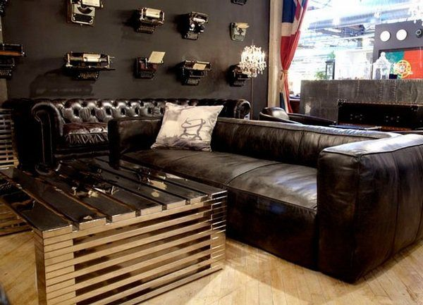 Small Man Cave With Dark Leather Couches