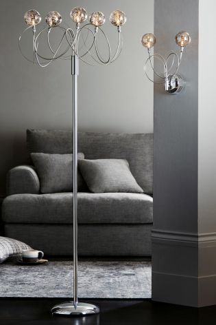 Lana Smoked Glass Light Floor Lamp from Next   Smoked glass