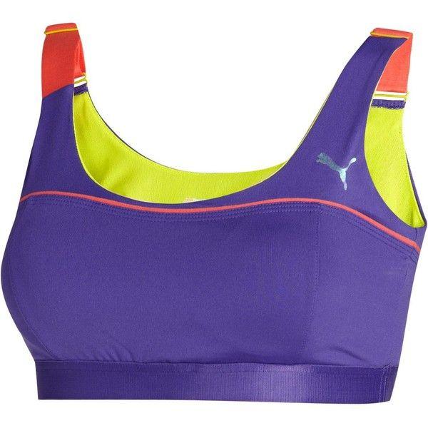 Bodytrain Sports Bra ($23) ❤ liked on Polyvore featuring activewear, sports bras, sportswear, purple sports bra, puma activewear, puma sports bra and puma sportswear