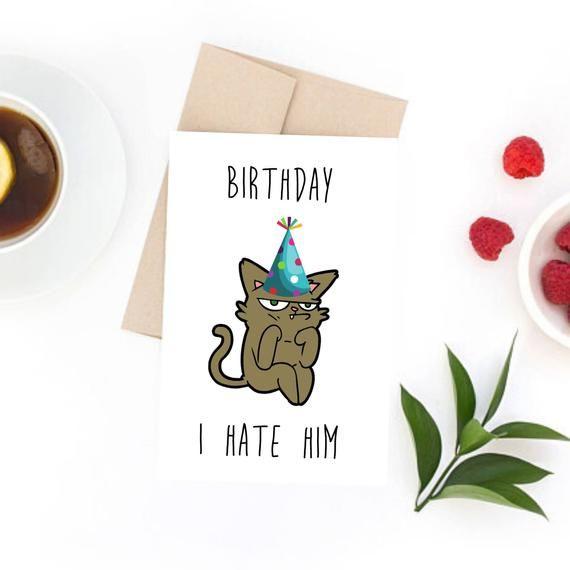 Photo of Funny Grumpy Cat Birthday Card – unique birthday card, gift for her, gift for him, girlfriend birthday, cat gift, cat card