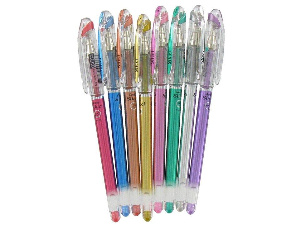 Pentel Assorted 8mm Slicci Metallic Gel Pen Set Gel Pens Set Gel Pens Pen