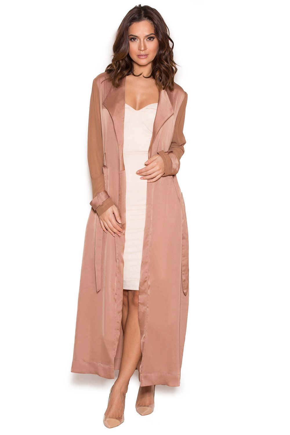 8474215207 Clothing   Jackets    Coryn  Rose Gold Silky Duster Coat