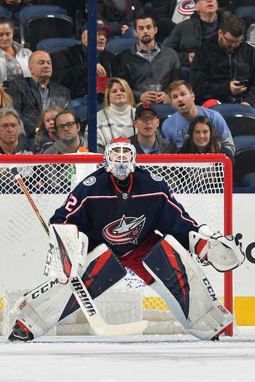 COLUMBUS, OH - NOVEMBER 6: Goaltender Sergei Bobrovsky #72 of the Columbus Blue Jackets defends the net against the Dallas Stars on November 6, 2018 at Nationwide Arena in Columbus, Ohio. (Photo by Jamie Sabau/NHLI via Getty Images)