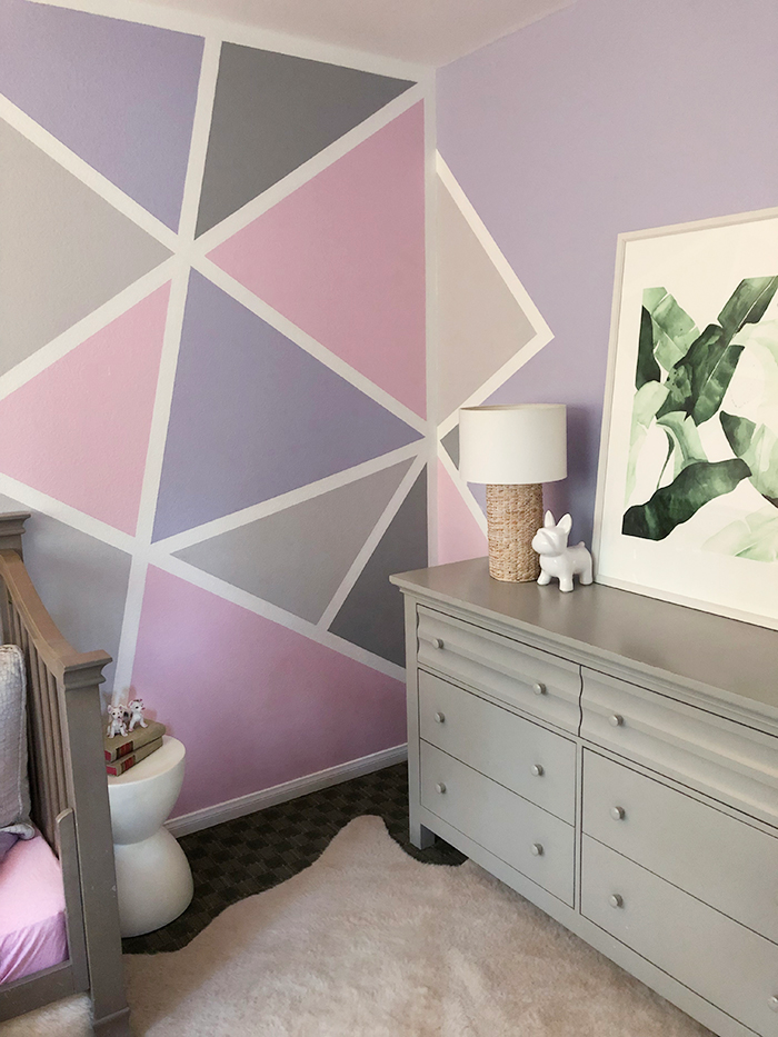 Home Decor // Geometric Accent Wall - Little Girl's Room ...