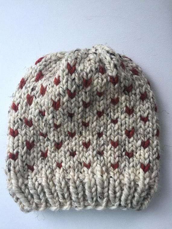 Fair Isle Hat/Winter Hat/Knit Hat/Knit Beanie/ Heart Hat/ Pumpkin ...
