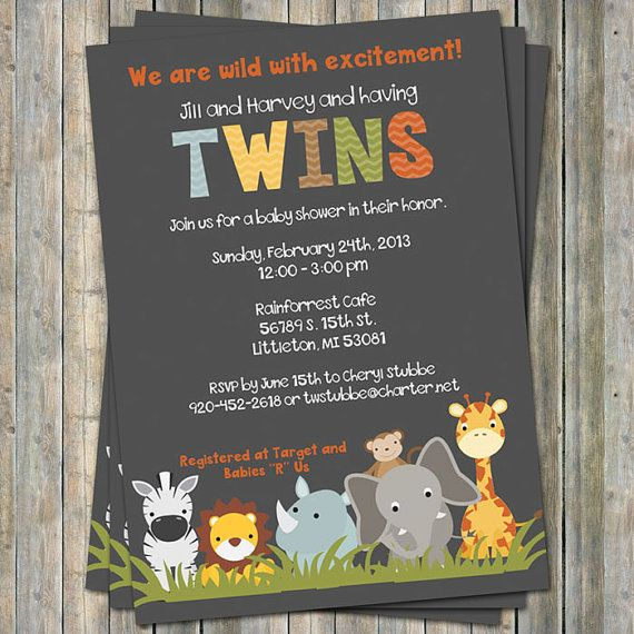 Jungle Animal Baby Shower Invitations Twin By Freshlysqueeze Jungle Animal Baby Shower Invitations Animal Baby Shower Invitations Twins Baby Shower Invitations