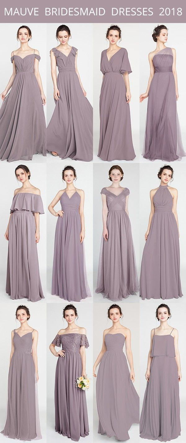 Mauve Bridesmaid Dresses For 2018 Trends Mauvewedding Bridalparty Bridesmaiddresses Weddingtrends