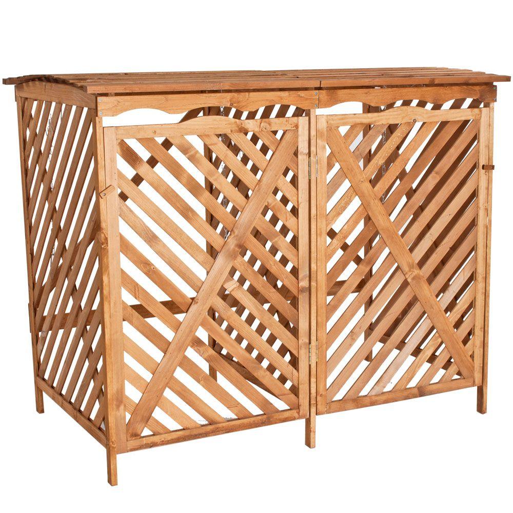 Double Bin Box Cabinet Container Home Garden Outdoor Storage Wooden Bins Outdoor Garbage Storage Garbage Can Storage
