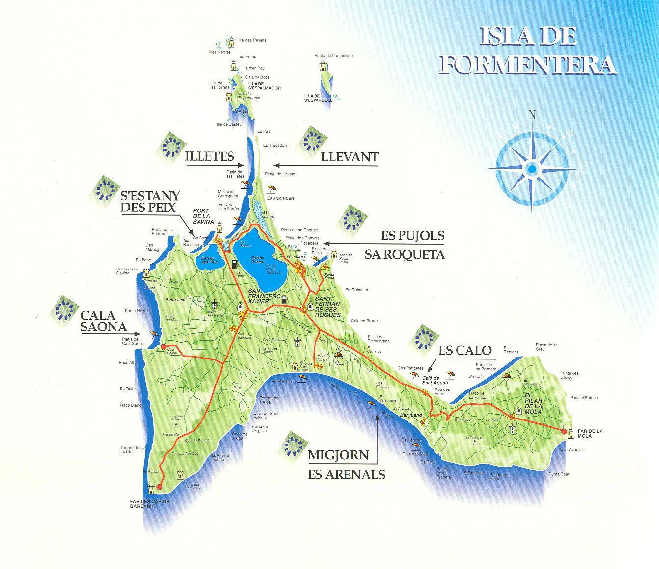 Cartina Geografica Spagna E Formentera.Benvenuti A Formentera Vacanze Estate 2014 Mappe Vacanze Viaggi