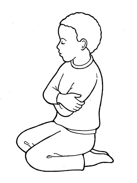 An illustration of a young boy kneeling in prayer, from